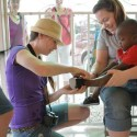 First pair of shoes in Haiti